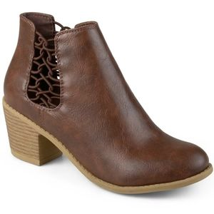 Brown Laced Panel Bootie by Journee Collection